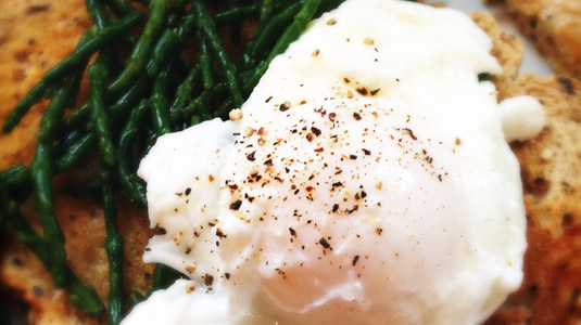 Poached Egg and Samphire on Toast
