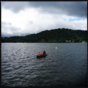 Family open canoe adventure to treasure island