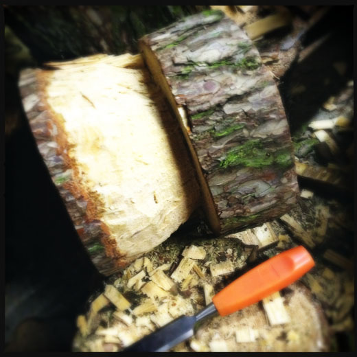 Chiseling the stool