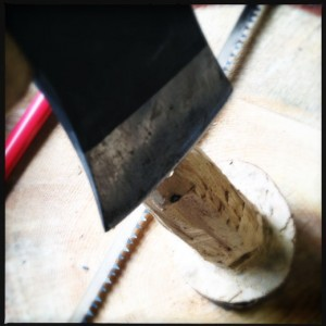 Use an axe to shape the handle