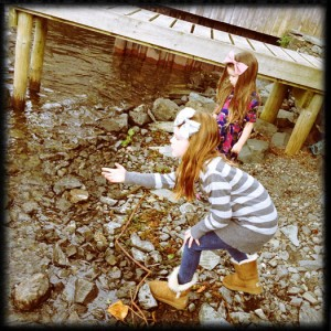 Skipping stones with kids