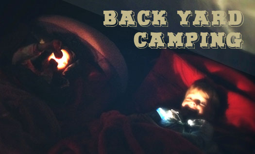 Back yard camping - fun with torches.